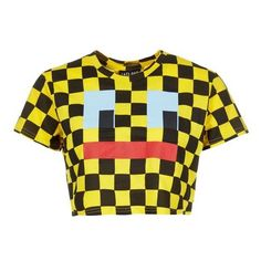 Lazy Oaf Face Check Crop T-shirt ❤ liked on Polyvore featuring tops, t-shirts, loose fitting t shirts, crop top, crop t shirt, print t shirts and loose fit t shirts