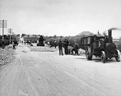 Roadmaking near Gepps Cross - steam cart pulling independent scarifier Steam Engine, New Zealand, Cart, Public, Street View, Australia, Outdoor, Covered Wagon, Outdoors