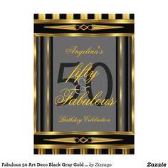 Fabulous 50 Art Deco Black Gray Gold Stripe 2 5x7 Paper Invitation Card