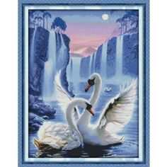 Love of swan Painting Counted Cross Stitch DMC Cross Stitch Sets DIY 11CT 14CT Cross Stitch Kits Embroidery Needlework WR037