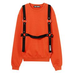 CANDY HARNESS SWEAT TOPS ❤ liked on Polyvore featuring tops, hoodies, sweatshirts, orange top, harness top and orange sweatshirt