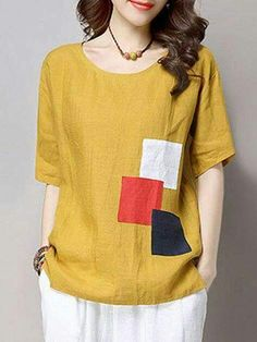 Specifications Product Name: Round Neck Color Block Patch Short Sleeve T-Shirt Weight: Sleeve: Short Sleeve Material: Cotton/linen Pattern Type: Color Blouse Styles, Blouse Designs, Half Sleeve Shirts, Linen Blouse, Linen Dresses, Sewing Clothes, Pulls, Shirt Blouses, Blouses For Women