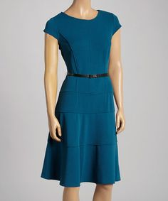 Look at this #zulilyfind! Teal Belted Cap-Sleeve Dress by Sharagano #zulilyfinds