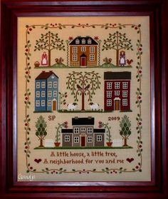 Little House Needleworks - Little House Neighborhood - Cross Stitch Pattern I have this design finished, waiting for framing. Cross Stitch Sampler Patterns, Cross Stitch Samplers, Cross Stitch Kits, Cross Stitch Charts, Cross Stitch Designs, Cross Stitching, Cross Stitch Embroidery, Little House Needleworks, Cross Stitch House