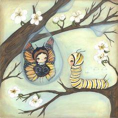 Items similar to Butterfly Print Raindrop Tree Caterpillar Blossom Wall Art 8 x Beauty on Etsy Art And Illustration, Illustrations, Art Papillon, Original Paintings, Original Art, Art Mignon, Chenille, Butterfly Art, Butterflies