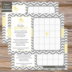 grey and yellow baby shower favors | Carriage Baby Shower Bingo Game, yellow, grey, Instant Digital ...