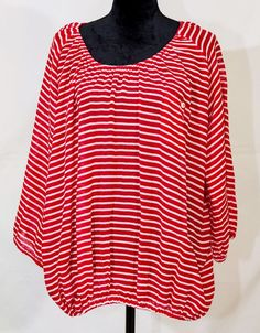 J. Crew women's sheer long sleeve stripped shirt red and white XL #JCrew #Tunic #Casual