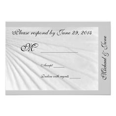 White Hibiscus with gray border  RSVP card