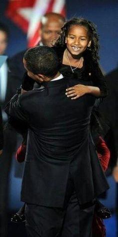 President Obama and daughter, Sasha.