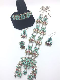 Vintage Zuni Mike & Sarah Simplicio Coral Turquoise Sterling Squash Blossom SET! | Jewelry & Watches, Ethnic, Regional & Tribal, Native American | eBay!