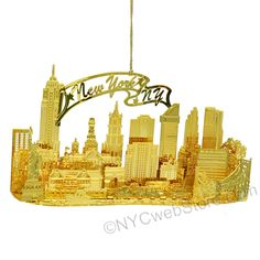 New York City Christmas Ornament, Brass 3D Skyline A beautifully detailed brass skyline in this New York City, sure to put a smile on your face every Christmas! (http://www.nycwebstore.com/skyline-3d-new-york-city-ornament/)