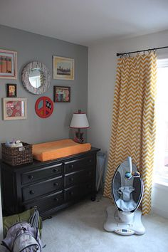 """Gray and brights. I know this is a """"baby room"""" but I LOVE the curtains!"""