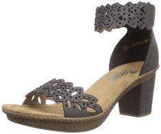 Women's Rieker, Rabea 55 Mid Heel Sandal GRAY 37 M. Women's Rieker, Rabea 55 Mid Heel Sandal. Dress up your outfit with this fancy sandal!. Manmade upper with decorative cut outs and jewels. Ankle strap with adjustable hook and loop closure for a secure fit. Smooth manmade lining.