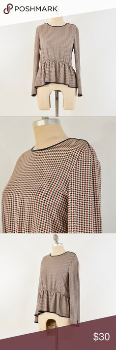 ZARA Navy + Red Houndstooth Peplum Blouse Classy peplum blouse from ZARA. Beige, with a dark red and navy mini houndstooth pattern. Wide neckline with keyhole at the back. Long sleeves. Polyester crepe fabric; unlined. Size S, fits a 4/6 best. Zara Tops Blouses
