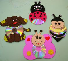 Fun Activities: Old CD Animal Crafts for Kids - Kids Art & Craft Kids Crafts, Animal Crafts For Kids, Sand Crafts, Crafts For Girls, Summer Crafts, Art For Kids, Arts And Crafts, Recycled Cd Crafts, Crafts With Pictures