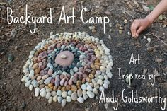 backyard ART camp :: andy goldsworthy inspired exploration with simple things notebook - A HAPPY STITCH Land Art, Andy Goldsworthy Art, Environmental Sculpture, Ephemeral Art, Nature Artists, Outdoor Art, Outdoor Play, Outdoor Spaces, Summer Art