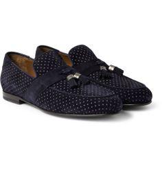 Jimmy Choo - Bevan Printed Tasselled Suede Loafers|MR PORTER