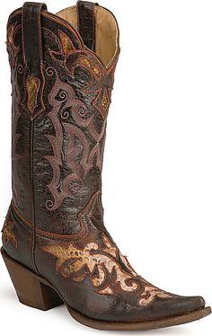 Stetson Python Snake Inlay Cowboy Boots