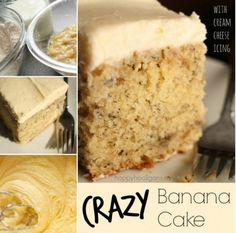 Best banana cake ever! This crazy banana cake with cream cheese icing is moist and delicious every time. It's the only banana cake recipe you'll ever need. Cream Cheese Icing, Cake With Cream Cheese, Cream Cheeses, Banana Bread With Cream Cheese Recipe, Recipes With Cream Cheese, Cream Cheese Bars, Cream Cheese Desserts, Cream Cheese Muffins, Best Ever Banana Cake