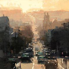 I Cityscapes del pittore americano Jeremy Mann Urban Landscape, Abstract Landscape, Landscape Paintings, Urban Painting, City Painting, Urbane Kunst, Cityscape Art, Illustration, Paintings I Love