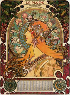 Alphonse Mucha's design was a calendar produced for arts review La Plume in 1896, and typically with Mucha great attention is paid to the decorative details. Description from pinterest.com. I searched for this on bing.com/images