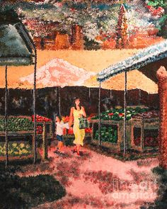 Mother and Child at the Farmer's Market by Robert Yaeger Mother And Child, Art Market, Farmers Market, City Photo, Marketing, Wall Art, Children, Painting, Mother Son