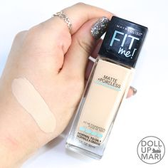 Maybelline Fit Me Matte+Poreless Foundation Review and Swatches   Doll Up Mari Fit Me Foundation Review, Waterproof Foundation, Makeup Foundation, All Things Beauty, Top Beauty, Estee Lauder Pleasures, Fit Me Matte And Poreless, Maybelline Fit Me Foundation, Makeup Products