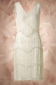 Unique Vintage - 20s Princess Flapper Dress in Ivory