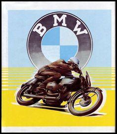 Vintage BMW motorcycle advertising