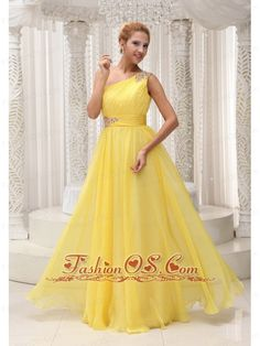 Beaded Decorate One Shoulder and Wasit Ruched Bodice Yellow Chiffon Custom Made Floor-length Prom / Evening Dress For 2013- $134.49  http://www.fashionos.com   custom made prom dresses | fitted and sexy dress | a dress of elegance for your prom | online store sell prom dress |