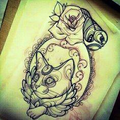 Cat tattoo by Miss Juliet