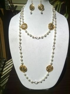 "Created & Designed by me is a beautiful  opera necklace and earrings  Can be worn evenings or casual, with that perfect evening dress or with your favorite pair of jeans   60"" long  30"" neck dro"