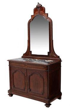 ~ Continental Mahogany Mirrored Marble Top Commode ~ new.liveauctioneers.com