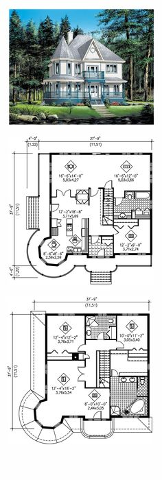 Victorian House Plan 49660 | Total Living Area: 2418 sq. ft., 3 bedrooms and 3 bathrooms. #victorianhome