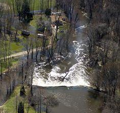 Aerial shot of a dam