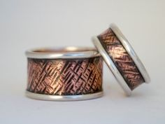 Wedding band set Mixed metal wedding bands Rustic by SILVERstro