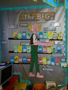 Bfg display boards More Class Displays, School Displays, Library Displays, Classroom Displays, Bfg Display, Literacy Display, Bfg Roald Dahl, Roald Dalh, Bfg Activities