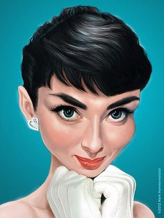 caricature of Audrey Hepburn Breakfast at Tiffany's) by Mark Hammermeister Cartoon Faces, Funny Faces, Cartoon Art, Funny Caricatures, Celebrity Caricatures, Celebrity Drawings, Audrey Hepburn, Caricature Drawing, Drawing Art