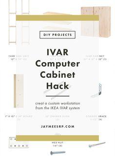 IVAR Computer Cabinet Hack – Jaymee Srp Ikea Hack Storage, Ikea Hacks, Diy Home Interior, Interior Ideas, Ikea Ivar Cabinet, Office Lounge, Diy Cabinets, Diy Projects, Room Decor