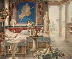 Felix Duban -     Architectural Fantasy in the Pompeian Style,     1856