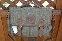Genuine HARRIS TWEED British Wool & Leather Satchel Green Messenger Laptop Bag. MadMenSuits.com