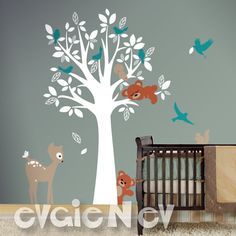 New Forest Animals Nursery Decal inspired by custom order and include simple tree with forest animals and lots of birds. Perfect to decorate and add your personal touch to any space, switch themes in child's room. Easy to apply. Elements come as separate piece and you can arrange them anywhere and anyway you'd like. Included FREE test decal.