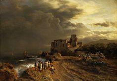 """Oswald Achenbach (German, 1827-1905), """"Abziehender Sturm an der italienischen Küste/Storm on the Italian coast"""""""