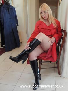 Enjoy this kinky blonde in her Rubber Rainwear! Lucy Lucy, Rubber Catsuit, Hot Blondes, Vintage Magazines, Rain Wear, Get Dressed, Kinky, Leather Skirt, Mac
