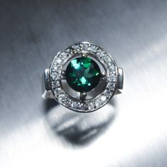 Rare Natural Green Blue Tourmaline 6x6mm 925 Silver ring by EVGAD, £63.99