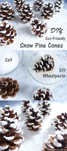Make cute snow covered pine cones with things you already have in your kitchen! These snow pine cones are eco-friendly and non-toxic. You'll just need three things for the eco-friendly snow pine cones: pine cones, salt and flour. Winter Crafts For Kids, Diy Crafts For Kids, Kids Diy, Christmas Holidays, Christmas Crafts, Christmas Decorations, Christmas Christmas, Schnee Party, Snow Party
