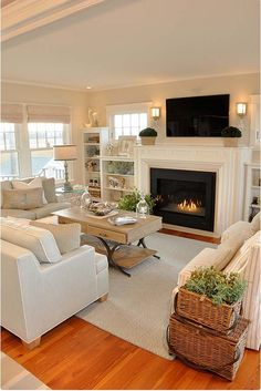 35 Super stylish and inspiring, neutral living room designs – home design - small living room furniture House Styles, Farm House Living Room, Neutral Living Room Design, Farmhouse Decor Living Room, Home And Living, Living Room With Fireplace, Living Room Designs, New Homes, House