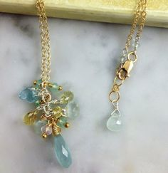 Aquamarine cluster mixed beads Gold filled by NakedPlanetJewelry, $74.00