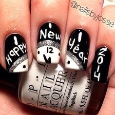 Nails. Fashion. Nail Art. Nail Polish. Style. Nail Design. Manicure. Style. White, black, happy new year. OPI.