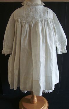 Vintage Antique White Doll Christening Dress Night Gown and Matching Slip ~21""